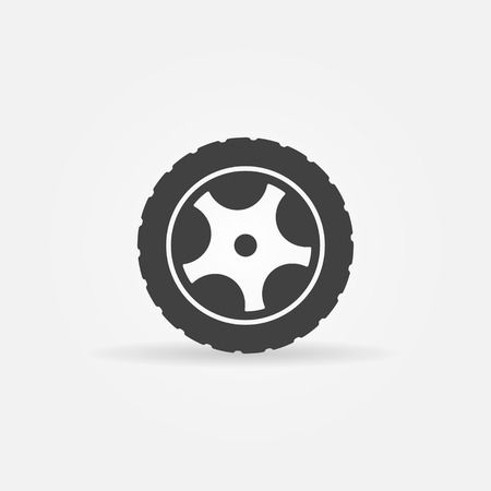 Black tire icon or symbol - vector black wheel logo
