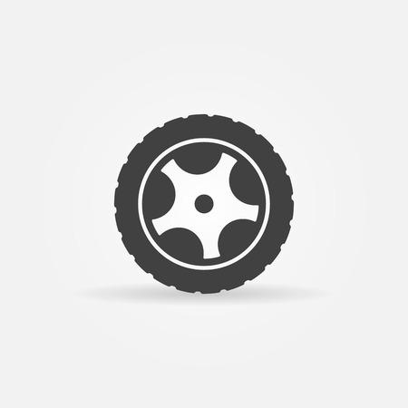 Black tire icon or symbol - vector black wheel logo
