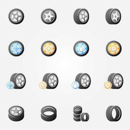 vector tyre: Tire vector icons set -  wheel tyre symbols or logos Illustration