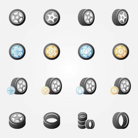 Tire vector icons set -  wheel tyre symbols or logos Ilustração