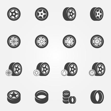 Tire icons set - vector wheel tyre symbols and logos Vettoriali