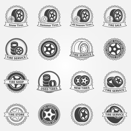 Tire service and tire shop emblems or logos - vector black badges