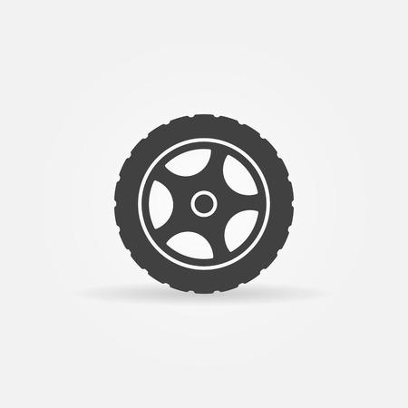 Tire icon or logo - vector black transportation symbol Vettoriali