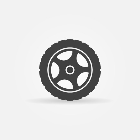 Tire icon or logo - vector black transportation symbol Çizim