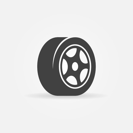 tire shop: Vector tyre symbol or icon - black car tire logo