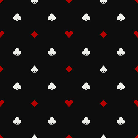 Poker pattern - vector seamless dark background with suits