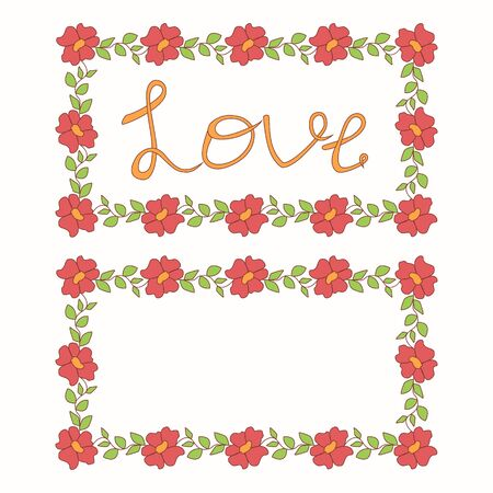 Beautiful love card - vector floral hand-drawn frame Vector
