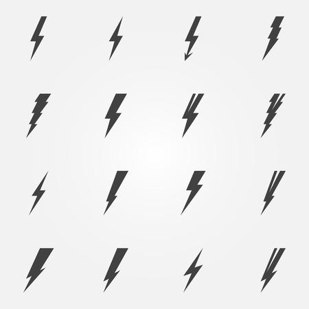 Lightning icons - vector set of lightning symbols or logos Vectores