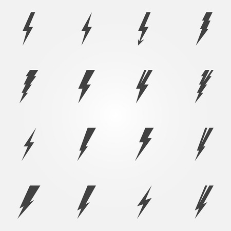 Lightning iconen - vector set van bliksem symbolen of logo's Stock Illustratie