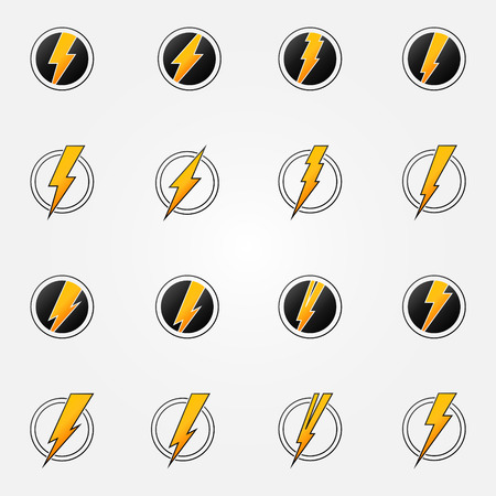 Lightning iconen - vector set van zwarte en gele elektriciteit symbolen of logo's Stock Illustratie