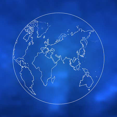 Hand drawn world map - abstract vector sketch of earth map on blue background Vector