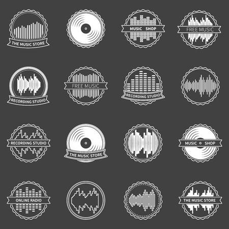 recording studio: Muziek emblemen of badges - vector set van opnamestudio, online radio en muziekwinkel symbolen of elementen
