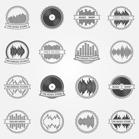 puls: Wektor dźwięk logo, godło - wektor zestaw studio nagrań, sklep muzyczny ikony i odznaki