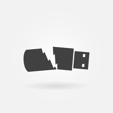 Broken USB flash drive icon - data loss symbol Illustration