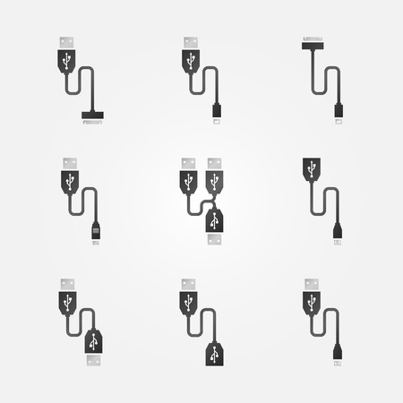 cables: USB cables black icons - vector symbols or logos