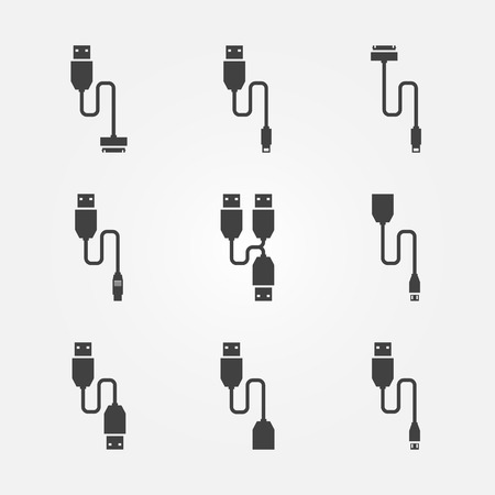 cables: USB cables icons - vector black wire computer symbols