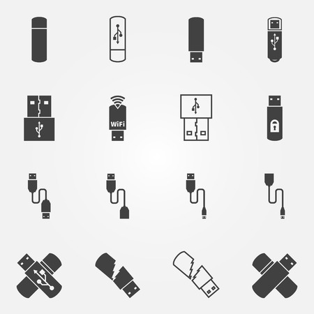 micro drive: USB icons set - vector black USB flash, OTG and micro cable symbols or logos Illustration