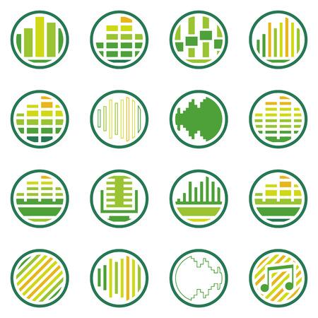 icone tonde: Suono o icone rotonde musica set - vettore verde simboli soundwave o loghi