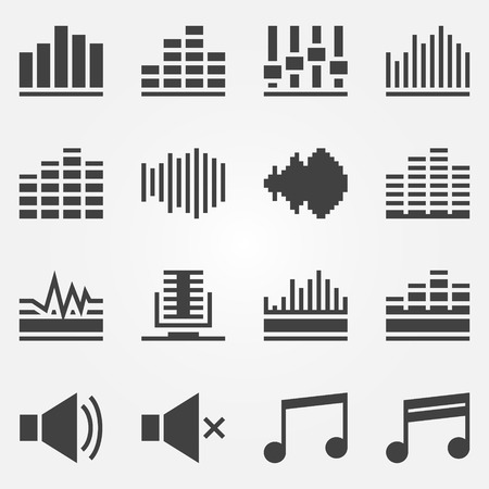Sound icons set - black vector music soundwave symbols or logos