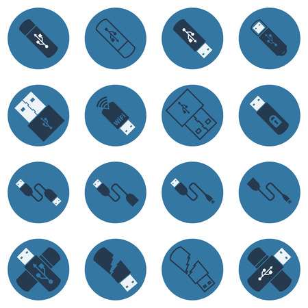 flash: USB vector flat icons - set of dark blue cables and usb flash drives symbols Illustration