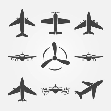 Plane icons - vector set of black airplane symbols