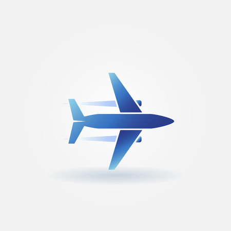 takeoff: Airplane flight icon or plane takeoff logo - vector blue symbol