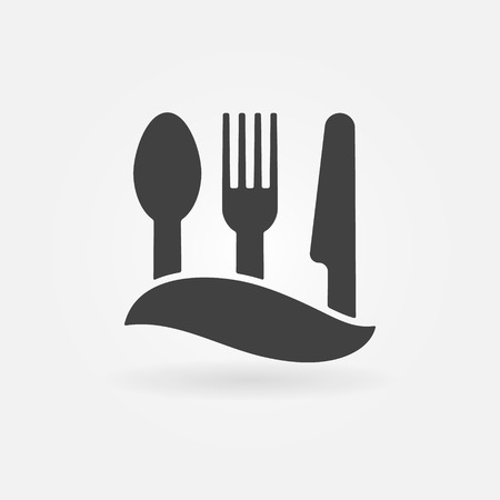 knife fork: Food icon - vector knife, fork and spoon, cafe or symbol