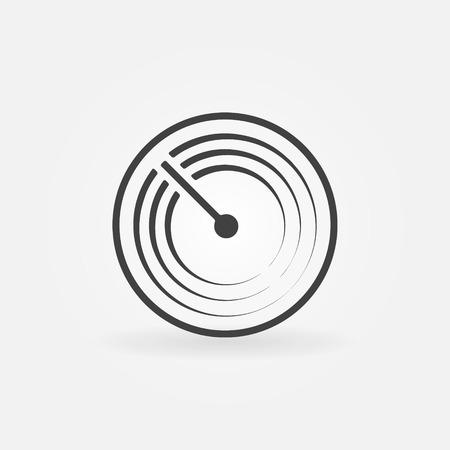 sonar: Radar vector simple icon - black sonar symbol