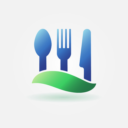 Cafe or food icon - vector knife, fork and spoon, cafe or sign