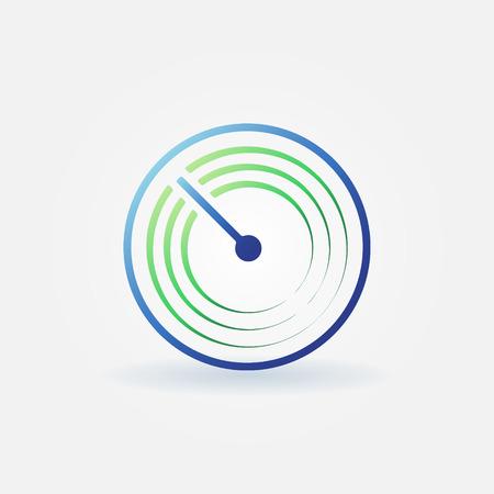 Radar vector simple icon - bright sonar sign or logo