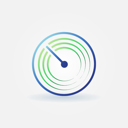 sonar: Radar vettore semplice icona - luminoso sonar segno o logo