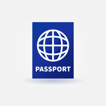 citizenship: Passport blue icon - vector citizen document symbol or sign