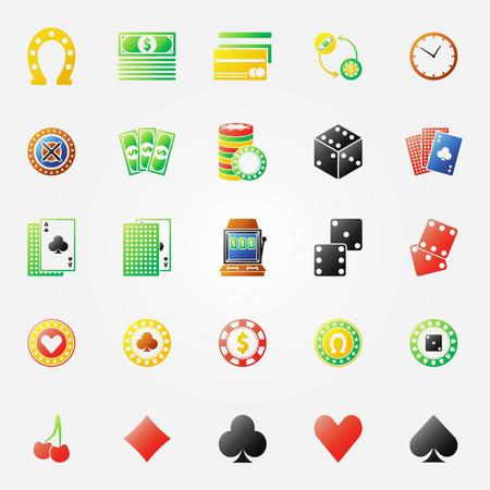 roulette online: Casino icons - vector gambling symbols set