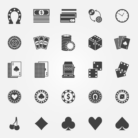 cash machine: Casino icons set - vector gambling or poker signs or symbols Illustration