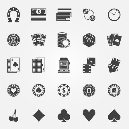 maquinas tragamonedas: Iconos del casino fijados - vector o de juego de p�quer signos o s�mbolos