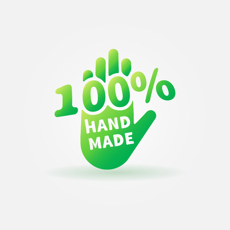 Hand made vector label or sign - 100 percent handmade green logo Ilustrace