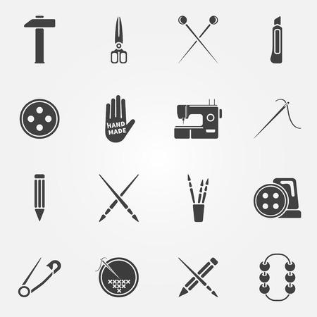 handmade: Hand made icons set - vector creative drawing, sewing, crafting symbols or logos