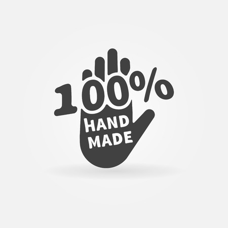Hand made vector label or icon - 100 percent handmade black logo Çizim
