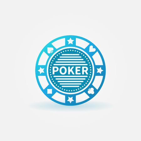 hold'em: Blue poker chip vector icon or logo Illustration