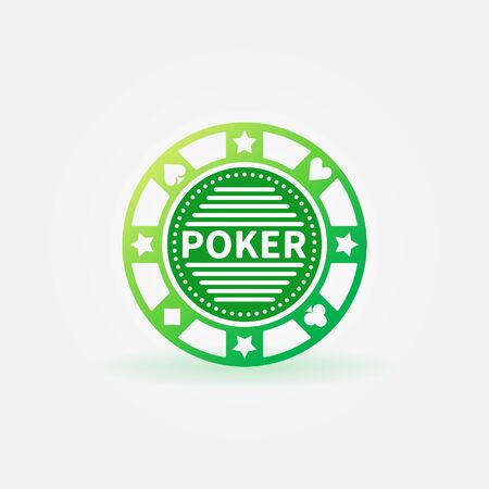 hold'em: Poker chip green vector icon or logo Illustration