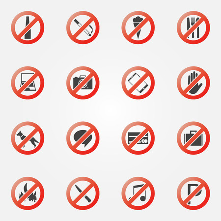 Prohibited symbols set - vector restriction icons or signs Illustration