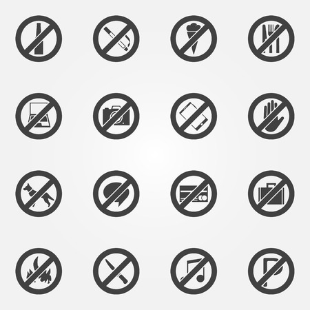 restriction: Prohibited symbols set - vector black restriction icons or signs