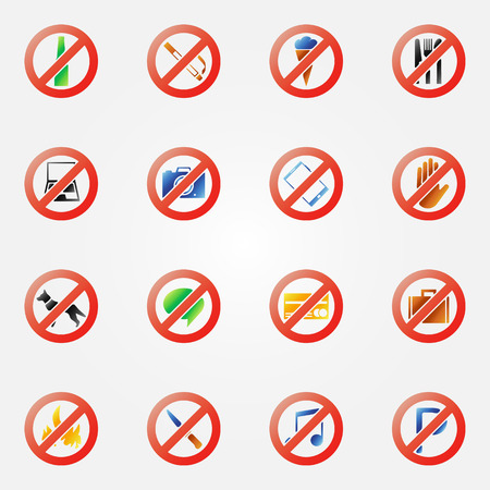 restriction: Restriction icons or signs - bright vector symbols set