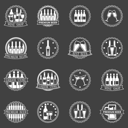 wine trade: Beer and wine labels set - vector logo collection of alcohol badges or symbols