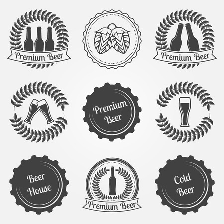 Beer labels and emblems  - vector signs, badges, design beer symbols and logo elements Vector