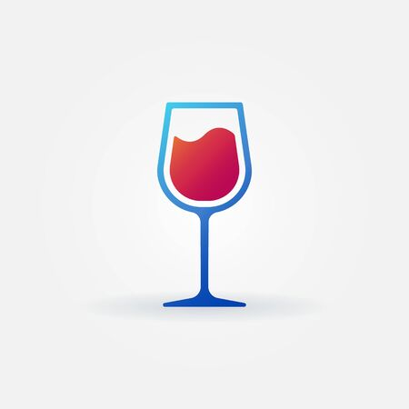 reflexion: Blue glass of red wine vector icon - alcohol symbol or logo Illustration