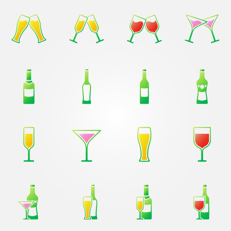 Drink alcohol bright icons - vector set of beer, wine, martini, champagne symbols Vector