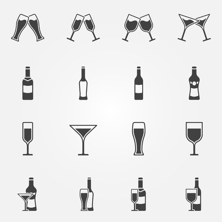 Drink alcohol beverage icons - vector black set of beer, wine, martini, champagne bar symbols