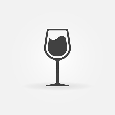 Glass of wine vector icon - black symbol or logo Çizim