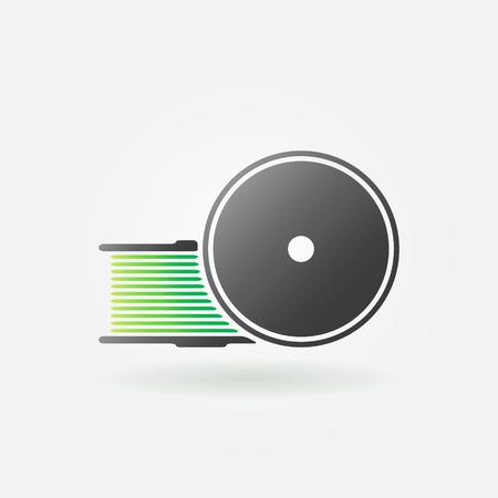 filament: Green filament for 3D Printer icon or logo - vector 3D printing symbol Illustration